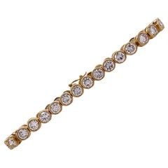 7.50 Carat Diamond Bezel Set Tennis Bracelet 18 Karat Yellow Gold