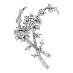 7.50 Carat Mixed Cut Diamond Spray Pin Brooch
