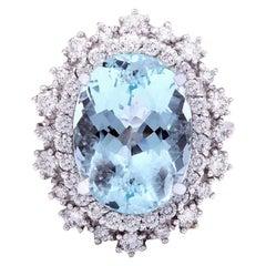 7.50 Carat Natural Aquamarine 18 Karat Solid White Gold Diamond Ring