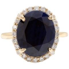 7.50 Carat Natural Blue Sapphire and Diamond 14 Karat Solid Yellow Gold Ring