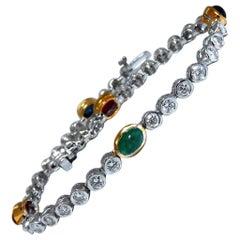 7.50 Carat Natural Sapphires Emeralds Ruby Diamond Bracelet 14 Karat