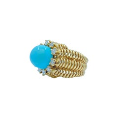 7.50 Carat Persian Turquoise and Diamond Basketweave Design 18k Yellow Gold Ring