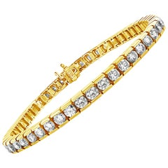 7.50 Carat Round Diamond Tennis Bracelet in 18 Karat Yellow Gold