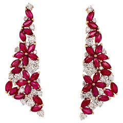 7.50 Carat Ruby Diamond Earrings