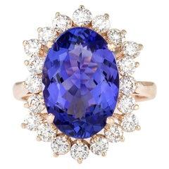 7.50 Carat Tanzanite 18 Karat Rose Gold Diamond Ring