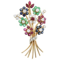 7.50 Carat Total Ruby, Sapphire, Emerald & Diamond Brooch in 14K Yellow Gold