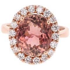 7.50 Carat Tourmaline Diamond 14 Karat Rose Gold Cocktail Ring
