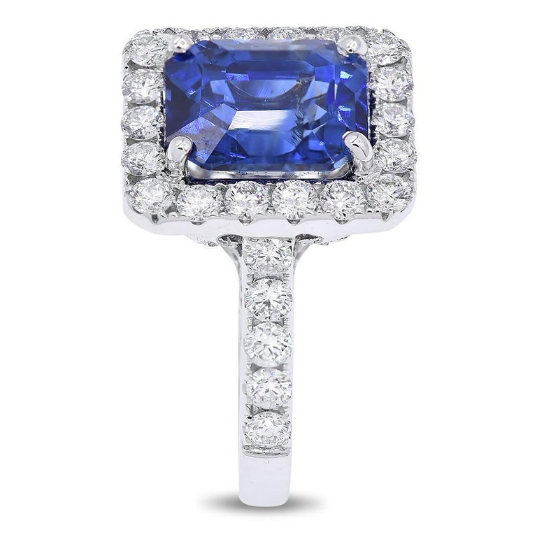 7.50 Carat Royal Blue Emerald Cut Sapphire Diamond Ring In New Condition For Sale In New York, NY