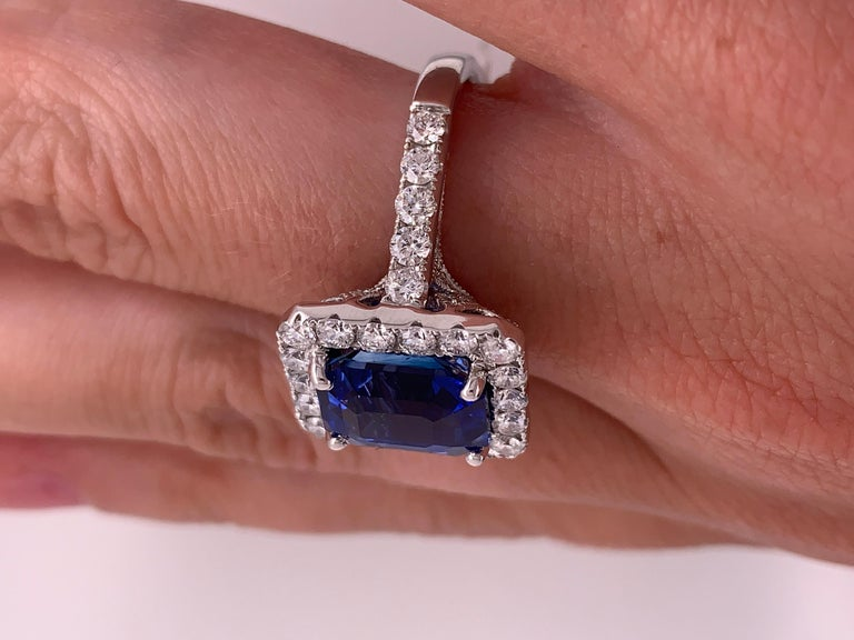 7.50 Carat Royal Blue Emerald Cut Sapphire Diamond Ring For Sale 1