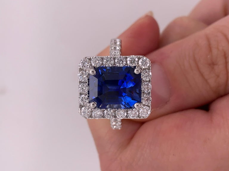 7.50 Carat Royal Blue Emerald Cut Sapphire Diamond Ring For Sale 2