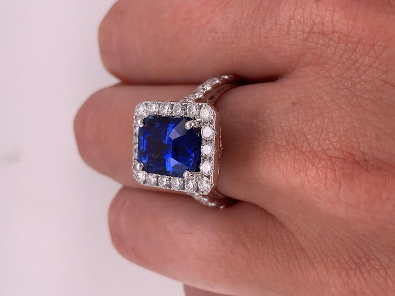 7.50 Carat Royal Blue Emerald Cut Sapphire Diamond Ring For Sale 3