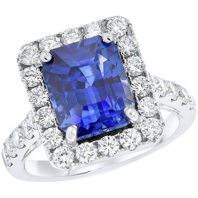 7.50 Carat Royal Blue Emerald Cut Sapphire Diamond Ring For Sale