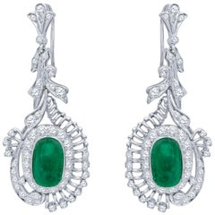7.50 Carat Total Vintage Cabochon Emerald and Diamond Dangle Earrings