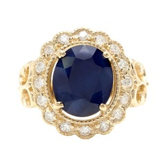 7.50 Natural Blue Sapphire & Diamond 14k Solid Yellow Gold Ring