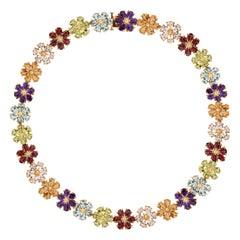 75.00 Carat Amethyst Citrine Topaz Garnet Peridot Flower Gold Necklace