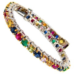 7.50ct natural ruby emerald sapphires diamond tennis bracelet 14kt gem line