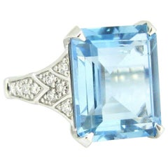 7.51 Carat Aquamarine Diamonds White Gold Cocktail Fashion Ring