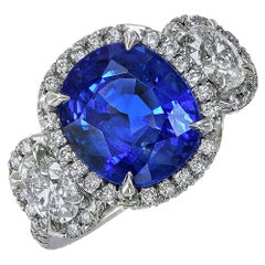 7.51 Carat Ceylon Cushion Cut Sapphire Diamond Platinum Ring AGL Certificate