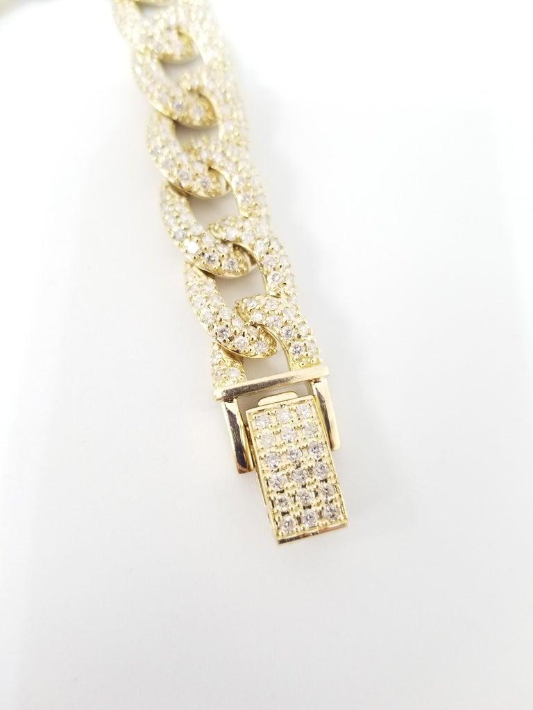 Round Cut 7.50 Carat Diamond Men's Cuban Link Chain Solid 14 Karat Yellow Gold For Sale