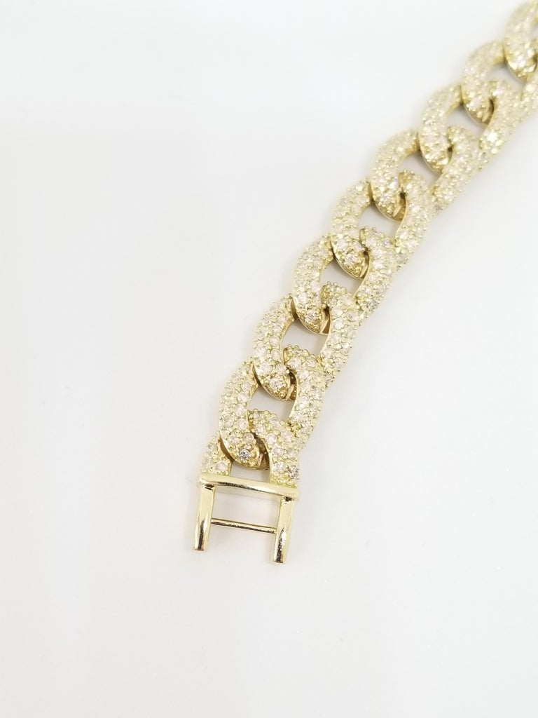 7.50 Carat Diamond Men's Cuban Link Chain Solid 14 Karat Yellow Gold In New Condition For Sale In Great Neck, NY