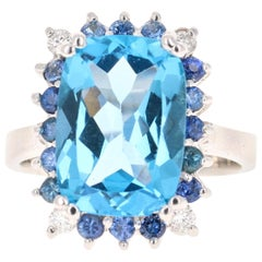 7.52 Carat Blue Topaz Sapphire Diamond 14 Karat White Gold Ring
