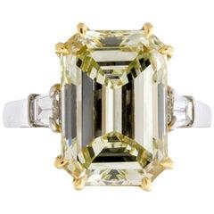 7.52 Carat Fancy Light Yellow GIA Certified Emerald Cut Diamond Engagement Ring