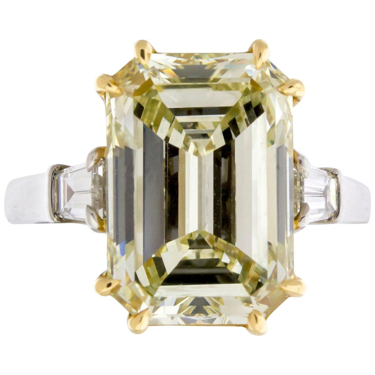 7.52 Carat Fancy Light Yellow GIA Certified Emerald Cut Diamond Engagement Ring For Sale