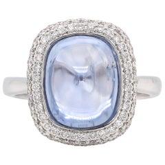 7.52 Carat Purple Sapphire Diamond 18 Karat White Gold Solitaire Ring
