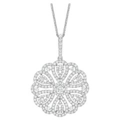 7.52 Carat Round Diamond Cluster Pendant with 18K Gold  Necklace