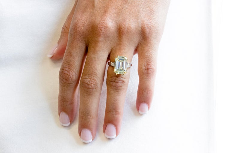 Contemporary 7.52 Carat Fancy Light Yellow GIA Certified Emerald Cut Diamond Engagement Ring For Sale