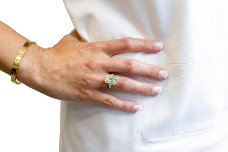 7.52 Carat Fancy Light Yellow GIA Certified Emerald Cut Diamond Engagement Ring In Excellent Condition For Sale In New York, NY