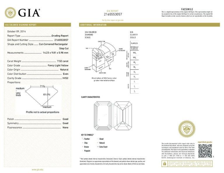 Women's 7.52 Carat Fancy Light Yellow GIA Certified Emerald Cut Diamond Engagement Ring For Sale