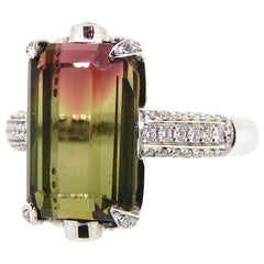 7.53 Carat Modified Emerald Cut Bi Color Tourmaline and Diamond Cocktail Ring