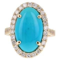 7.53 Carat Turquoise Diamond 14 Karat Yellow Gold Cocktail Ring