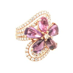 7.53 Carat Cabochon  Pink Sapphire flower 1.27 Carat of Diamond rose Gold Ring