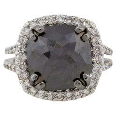 7.54 Carat Black Cushion Shape Diamond Halo Ring 14 Karat in Stock