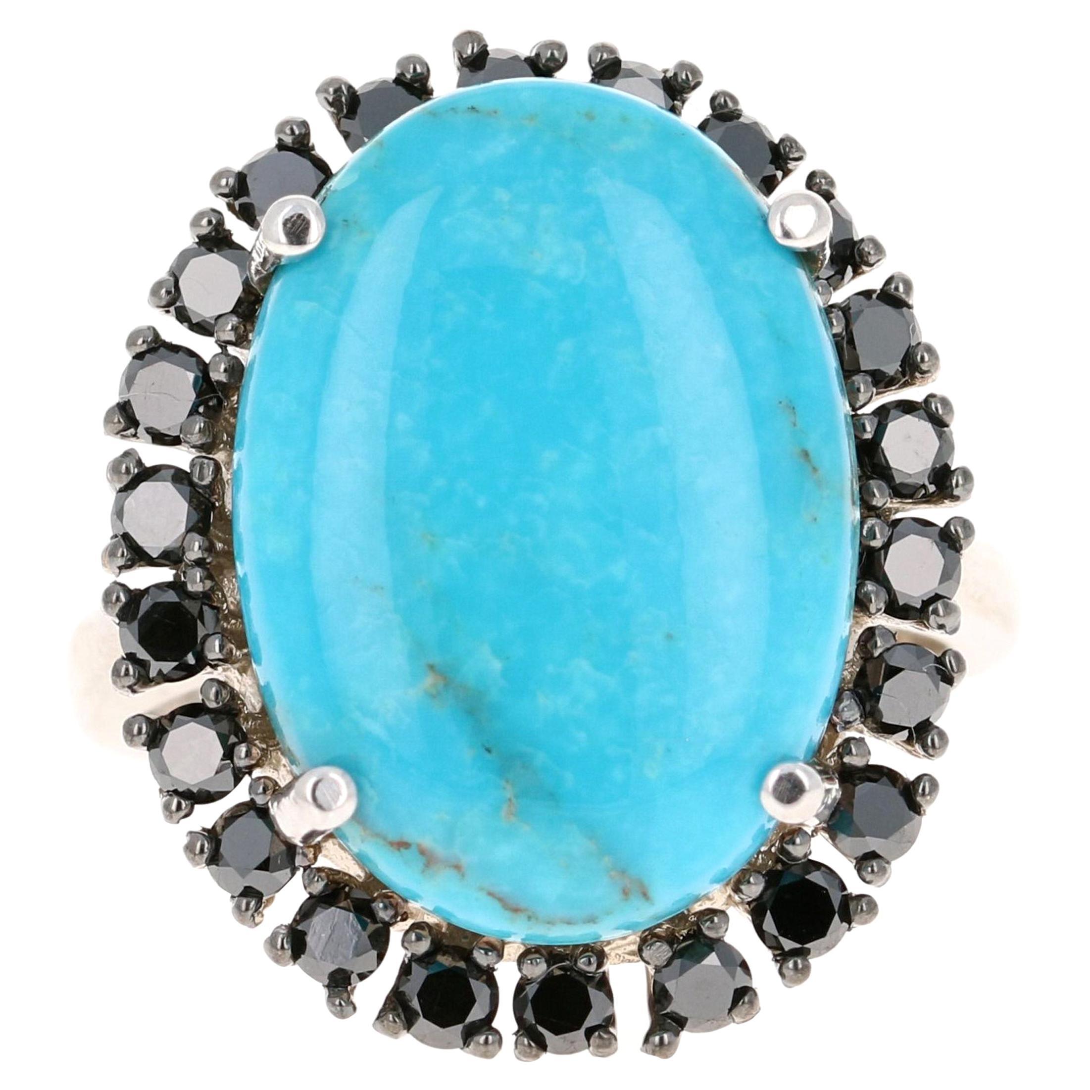 7.54 Carat Turquoise Black Diamond 14 Karat White Gold Cocktail Ring