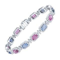 7.54ctw Emerald Cut Pink Sapphire and 6.75ctw Emerald Cut Blue Sapphire Bracelet