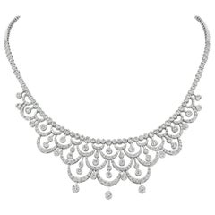 7.55 Carat Natural Diamond Necklace by Designer 14 Karat White Gold G SI
