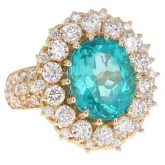 7.55 Carat Oval Cut Apatite Diamond 14 Karat Yellow Gold Ring