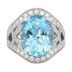 7.55 Carat Santa Maria Aquamarine and Diamond Ring in 18 Karat White Gold