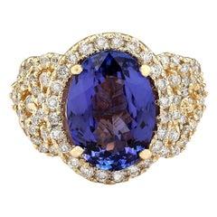7.55 Carat Tanzanite 18 Karat Yellow Gold Diamond Ring