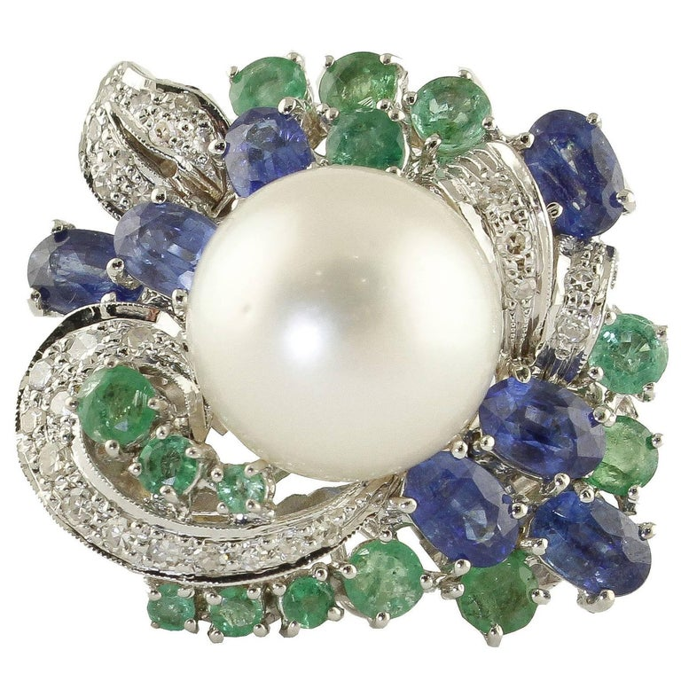 7.55 Carat Emeralds Blue Sapphire, Pearl, Diamonds, White Gold Ring