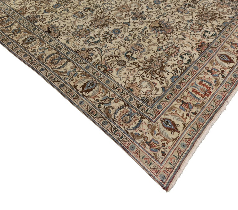 Wool Vintage Persian Tabriz Rug with Traditional Style For Sale