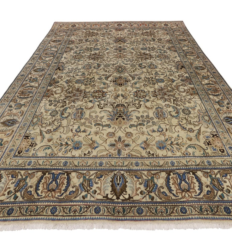 Vintage Persian Tabriz Rug with Traditional Style For Sale 1