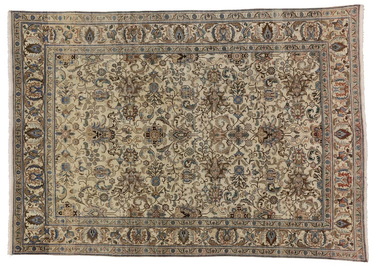 Vintage Persian Tabriz Rug with Traditional Style For Sale 2