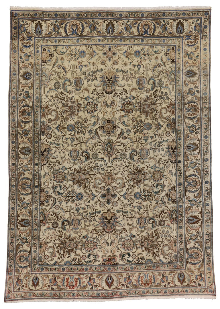 Vintage Persian Tabriz Rug with Traditional Style For Sale 3