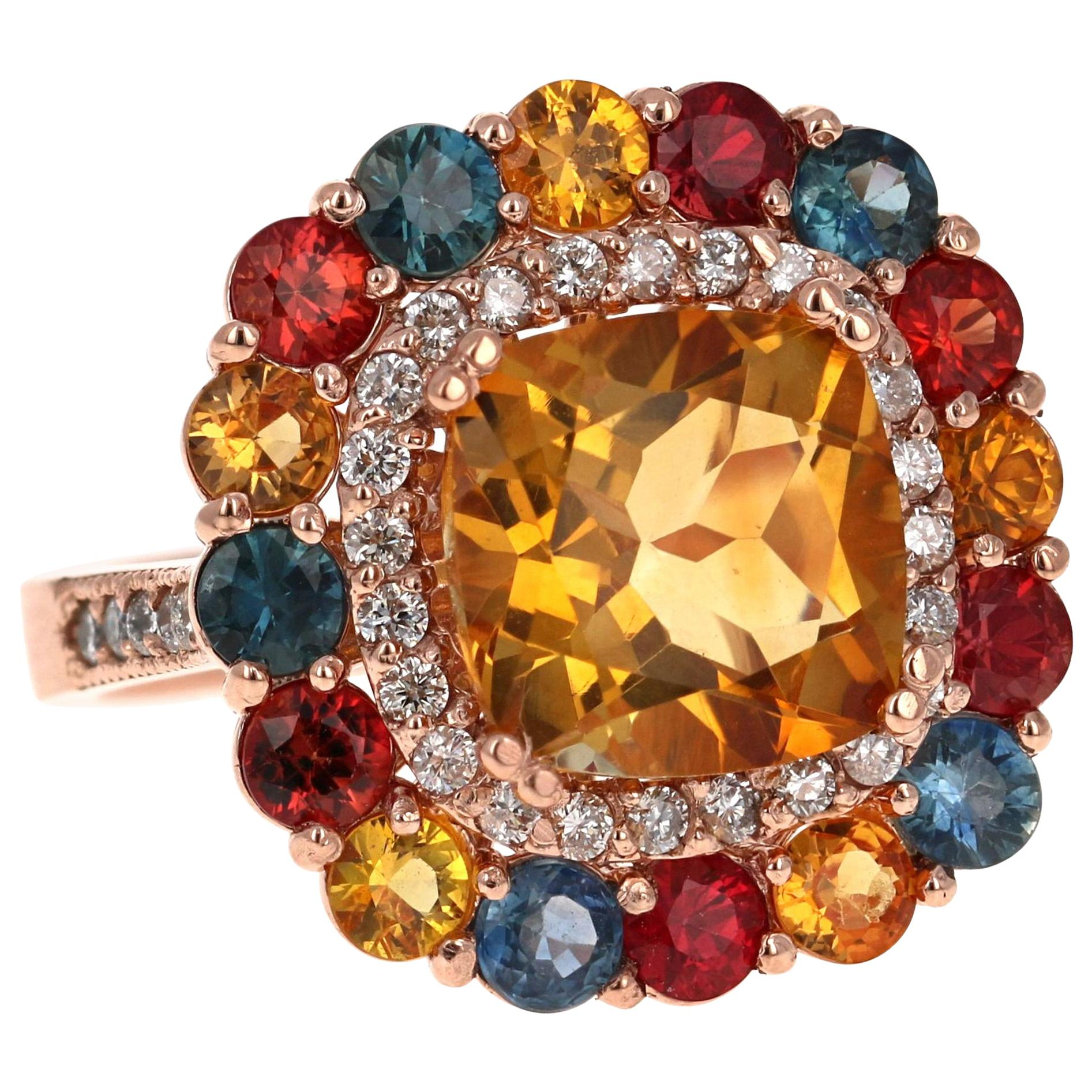 7.56 Carat Cushion Cut Citrine Sapphire Diamond 14 Karat Rose Gold Cocktail Ring