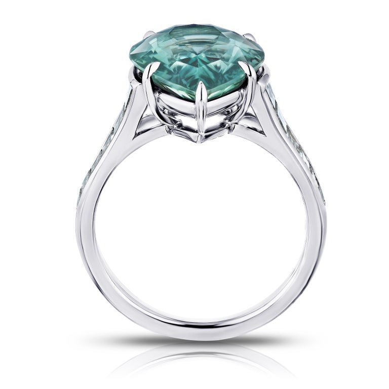Contemporary 7.57 Carat Pear Shape Green Sapphire and Diamond Ring For Sale
