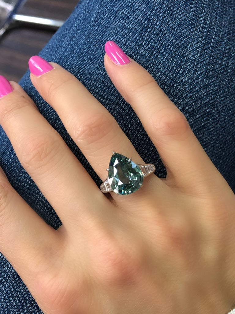 Women's 7.57 Carat Pear Shape Green Sapphire and Diamond Ring For Sale